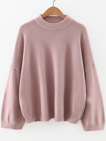 Jersey de hombro caído y cuello redondo - rosa