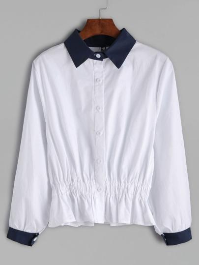 Contrast Trim Peplum Shirt