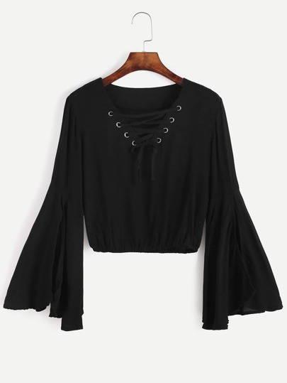 Black Bell Sleeve Lace Up Blouse