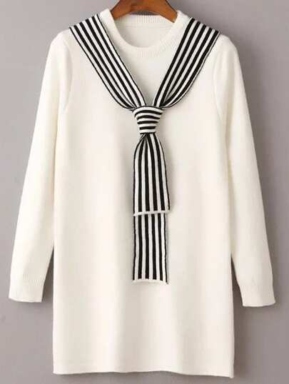 White Round Neck Sweater Dress With Striped Tie