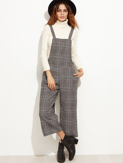 Grey Glen Plaid Wide Leg Overall Jumpsuit