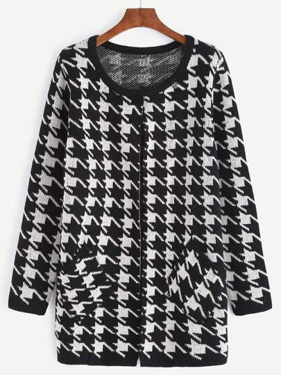 Black Houndstooth Collarless Sweater Coat With Pocket