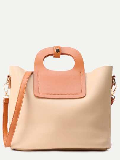 Khaki Faux Leather Shoulder Bag With Crossbody Bag