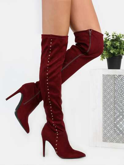 Studded Suede Stiletto Boots BURGUNDY