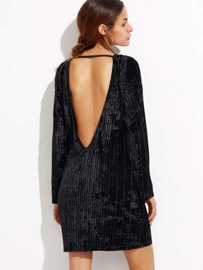 Open Back Ribbed Velvet Dress