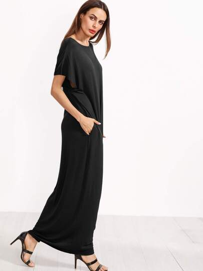 Black Short Sleeve Shift Maxi Dress With Pocket