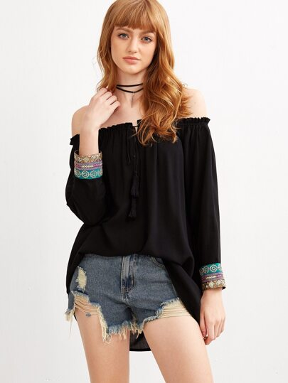 Black Off The Shoulder Top With Embroidered Sequin Cuff