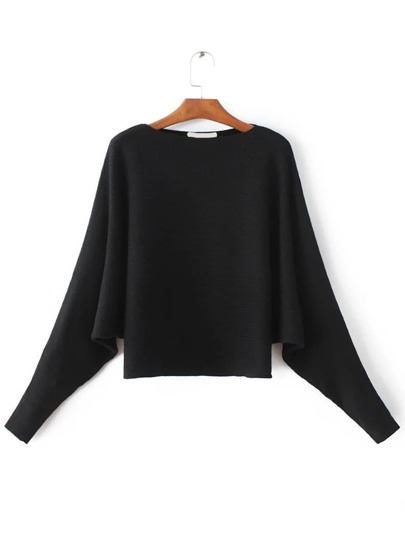 Black Boat Sleeve Dolman Sleeve Sweater