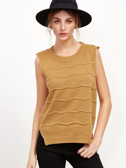 Khaki Sleeveless Slit Side Button Back Sweater