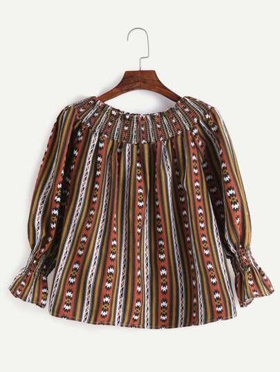Khaki Off The Shoulder Shirred Top