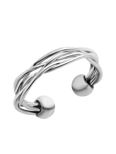 Silver Plated Braided Wrap Ring