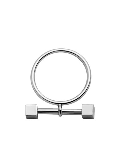 Silver Plated Dumbbell Ring