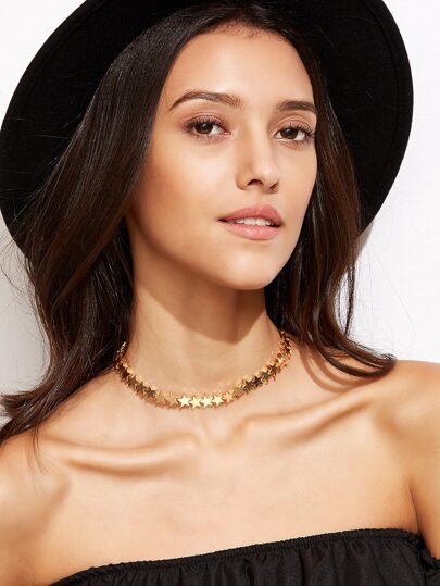 Gold Plated Star Choker Necklace