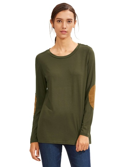 Army Green Long Sleeve Elbow Patch T-Shirt