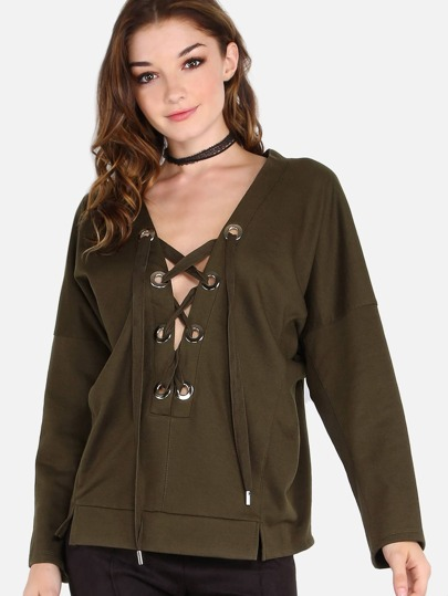 Plunging Bat Wing Lace Up Pullover Top OLIVE