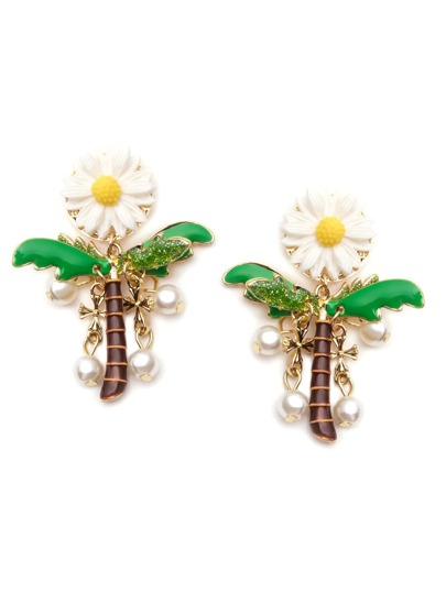 Daisy Coconut Tree Faux Pearl Drop Earrings