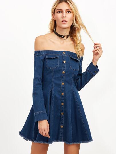 Blue Off The Shoulder Button Front Frayed Denim Dress