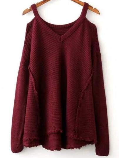 Burgundy Cold Shoulder Asymmetrical Hem Sweater