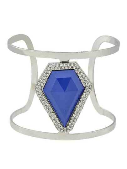 Blue New Design Imitation Gemstone Wide Cuff Bracelet