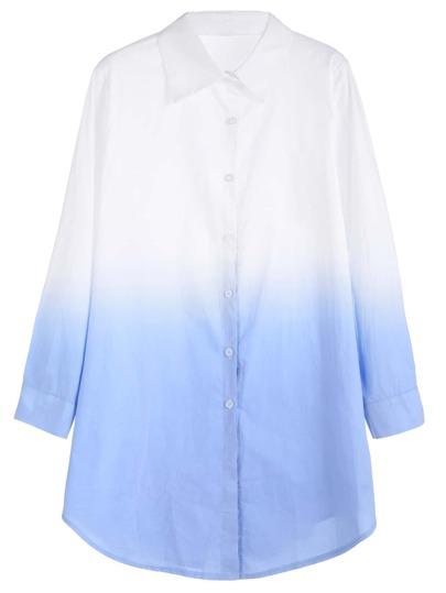 Ombre Curved Hem Shirt Dress