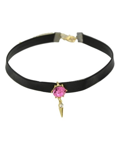 Hotpink Pu Leather Choker Necklace