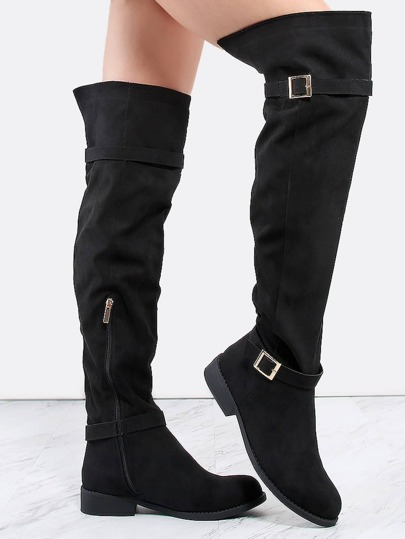 Flat Buckle Riding Boots BLACK