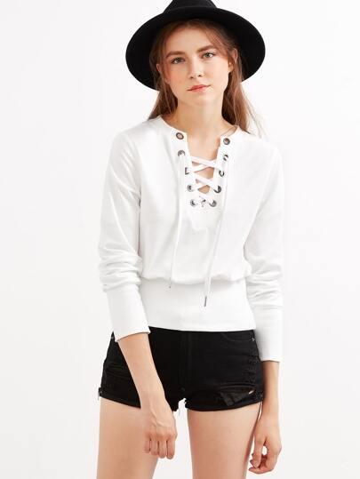 White Eyelet Lace Up Sweatshirt