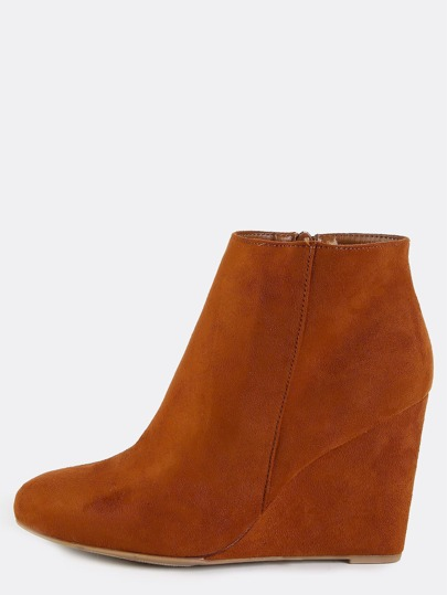 Faux Suede Wedge Ankle Booties CHESTNUT