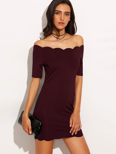 Burgundy Scallop Trim Off The Shoulder Bodycon Dress