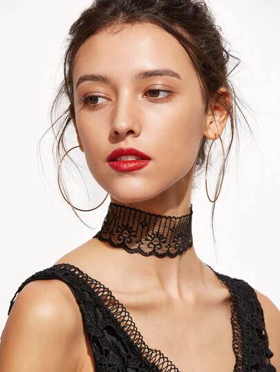 Black Scalloped Lace Wide Choker Necklace