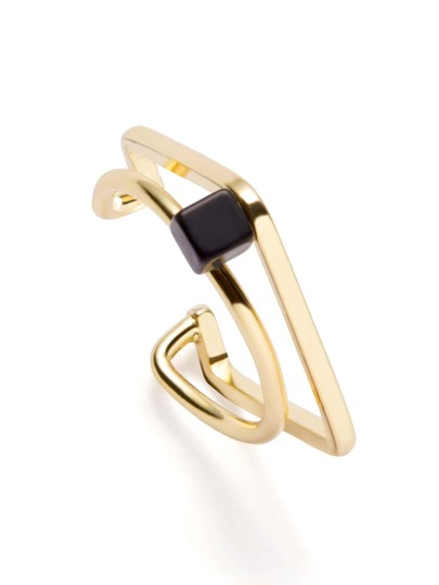 Gold Plated Geometric Faux Stone Ring