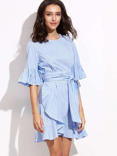 Blue Vertical Striped Belted Ruffle Dress
