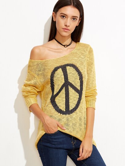 Yellow Graphic High Low Sweater