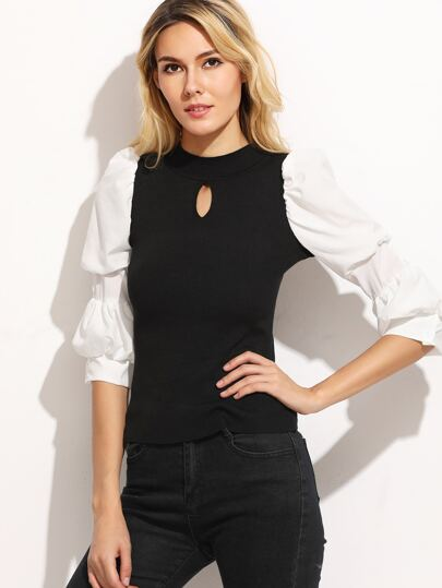 Contrast Puff Sleeve Keyhole Front Sweater