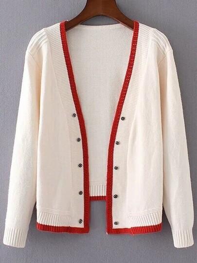 Beige Contrast Edge Open Front Sweater Coat