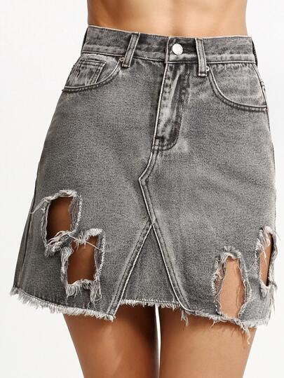 Grey Ripped High Waist A Line Denim Skirt