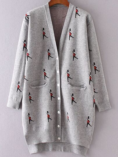 Grey Soldier Pattern Side Slit Dip Hem Button Up Cardigan