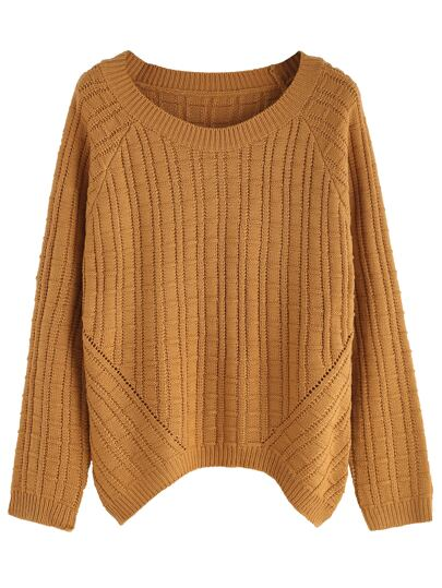Khaki Ribbed Knit Raglan Sleeve Sweater