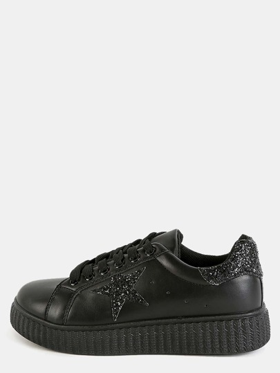 Platform Glitter Star Sneakers BLACK