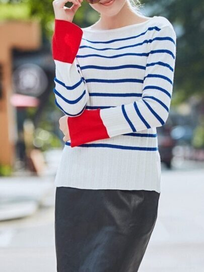 White Blue Striped Contrast Red Sweater