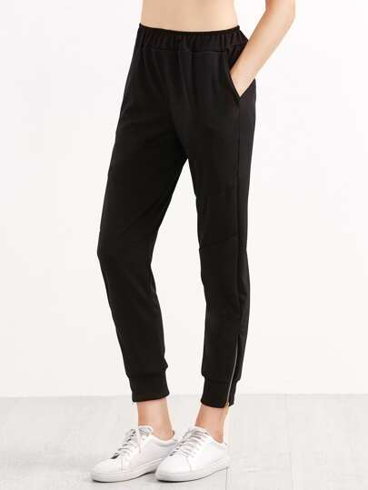 Black Elastic Waist Zipper Side Pants