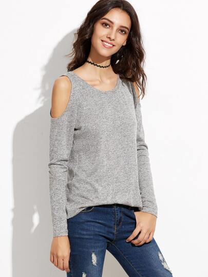 Grey Marled Knit Open Shoulder T-shirt