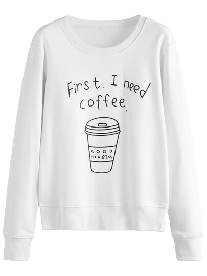 White Coffee Cup Letters Print Sweatshirt