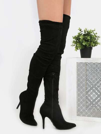 Stiletto Pointy Toe Suede Boots BLACK