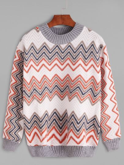 Contrast Trim Chevron Pattern Sweatshirt
