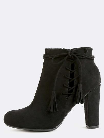 Fringe Faux Suede Ankle Boots BLACK