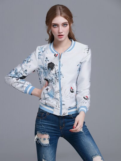 Blue Striped Trim Crane Embroidery Jacket