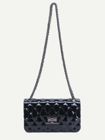 Black Quilted Jelly Crossbody Chain Bag