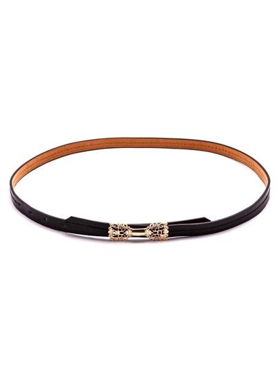 Black Hollow Metal Bow Skinny Belt