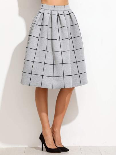 Grey Grid Box Pleated Skirt